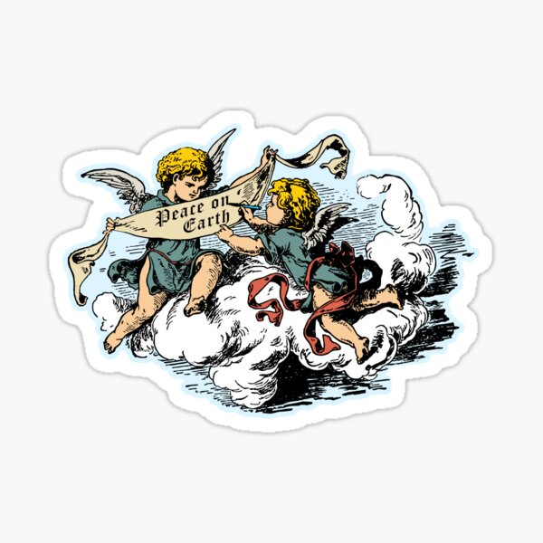 Cherubs & Angels Peace on Earth With Clouds Sticker