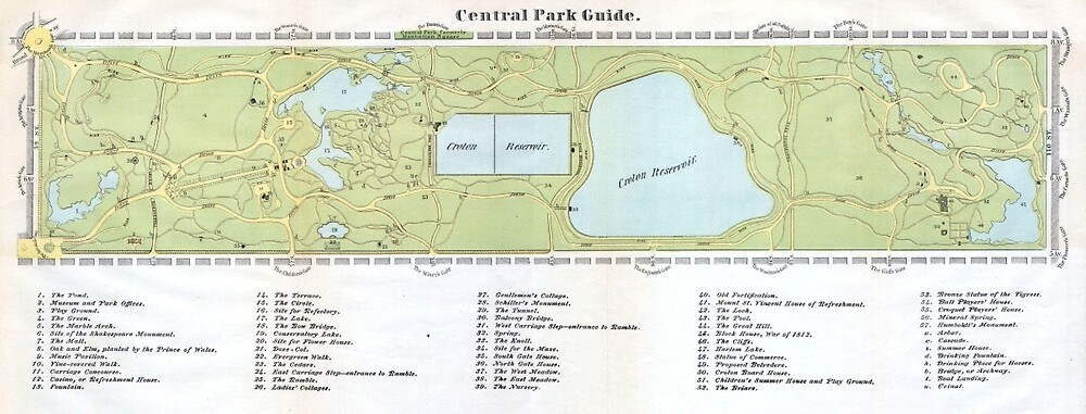 Vintage Map of Central Park NYC (1866) by BravuraMedia