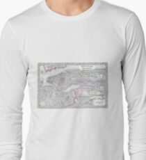Camiseta de manga larga Vintage Map of NYC and brooklyn (1867)