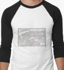 Camiseta ¾ bicolor para hombre Vintage Map of NYC and brooklyn (1867)