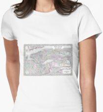 Camiseta entallada para mujer Vintage Map of NYC and brooklyn (1867)