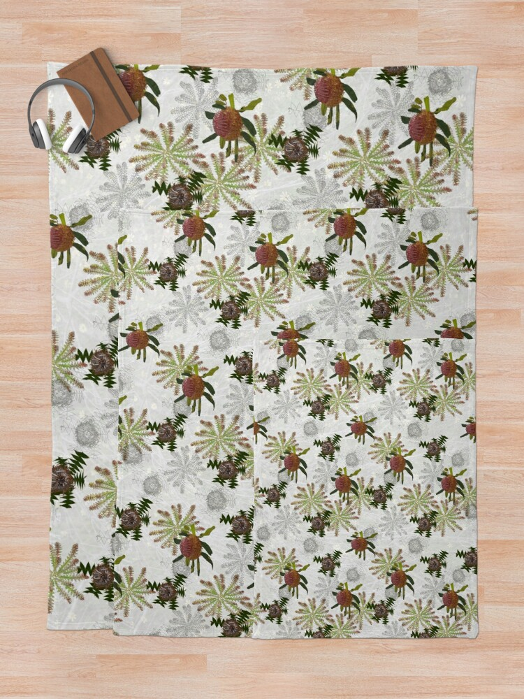 Alternate view of Mixed Banksia Fabric Design for large items Throw Blanket