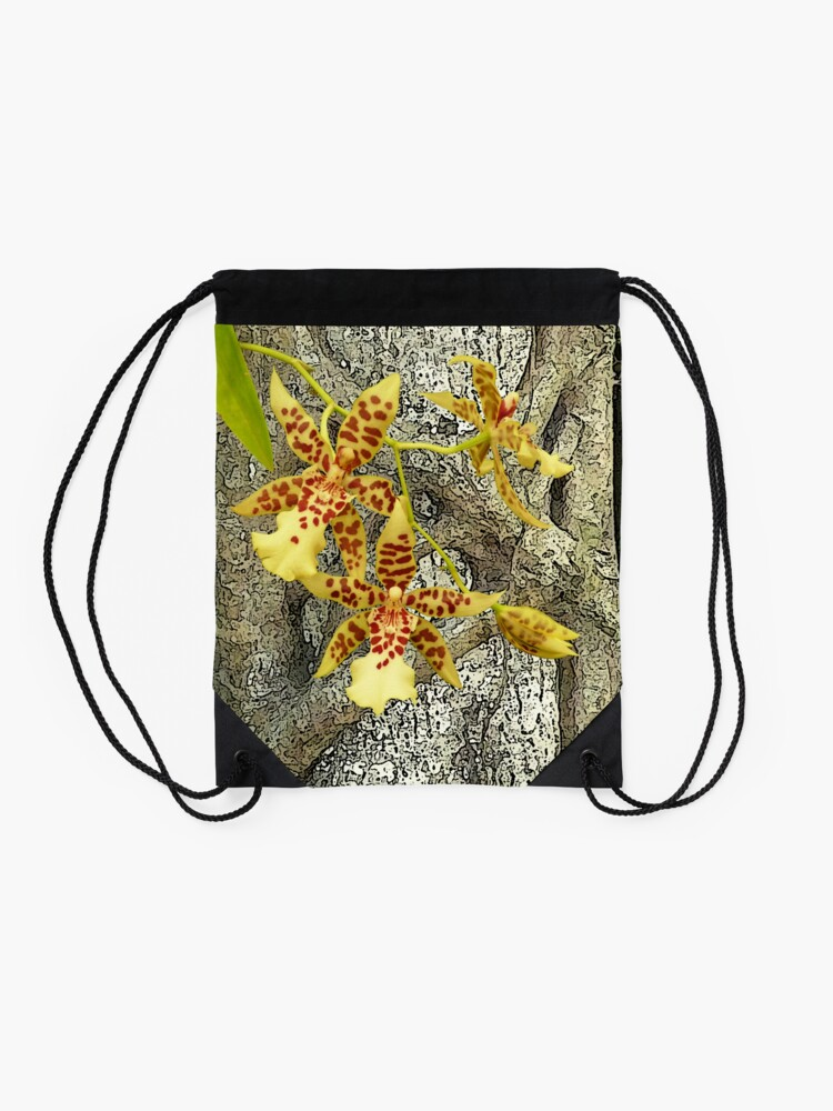Alternate view of Rainforest strangler fig and orchids Drawstring Bag