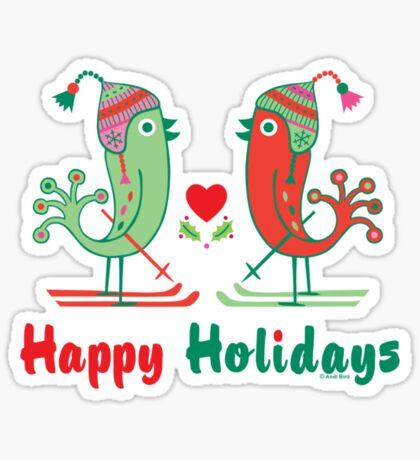 Ski Birds Happy Holidays Sticker