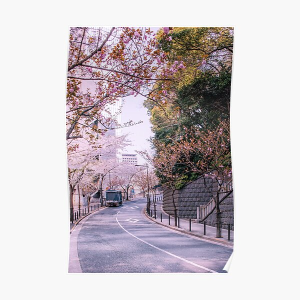 Ruelle Tokyoïte et sakura Poster