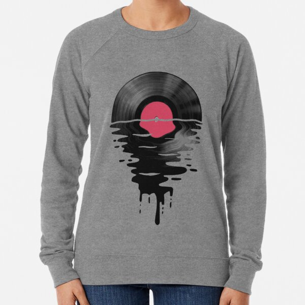 Vinyl LP Music Record Sunset  Red Lightweight Sweatshirt
