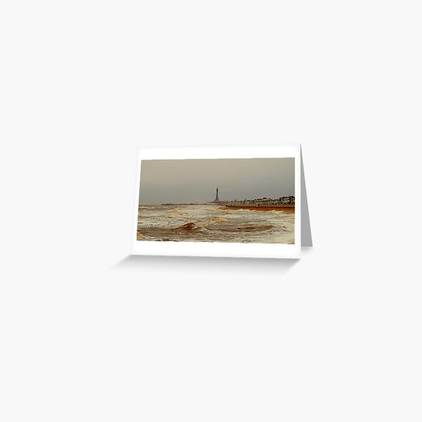 Stormy shores, Blackpool Greeting Card