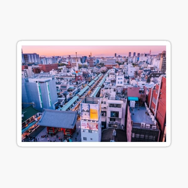Tokyo - Panorama du Senso-ji au crépuscule Sticker