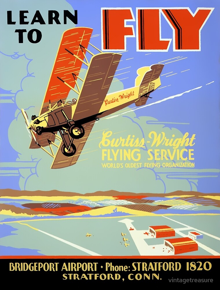 Learn to fly Vintage Poster Restored by vintagetreasure