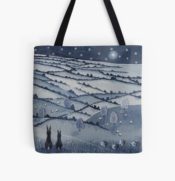 """""""Peaceful Valley...""""  Countryside hares in a star filled night sky  All Over Print Tote Bag"""