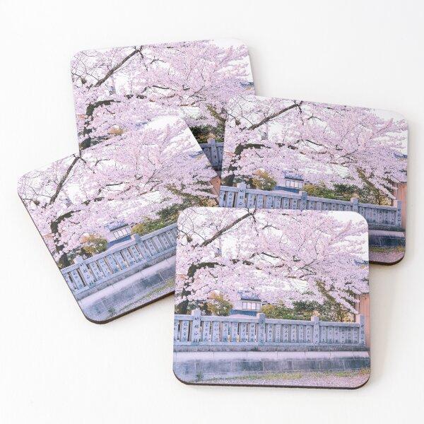 Japon - Cerisier en fleur à Toyama Dessous de verre (lot de 4)