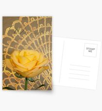 With Thanks Card  - Yellow Rose On Lace Background  Postcards