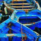Blue Boats I - Essaouira, Morocco. by Didi Bingham