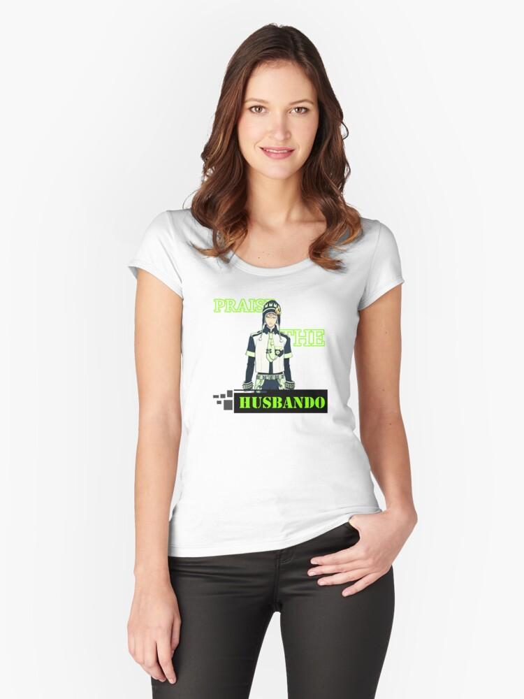 Noiz - Praise the husbando Women's Fitted Scoop T-Shirt Front