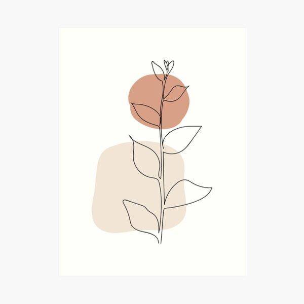 Sun and Leaves - Modern Minimal Line Drawing Botanical Line Art Mid-century Modern Minimal Decor Art Print