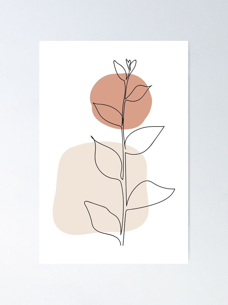 """Sun and Leaves - Modern Minimal Line Drawing Botanical Line Art Mid-century  Modern Minimal Decor"""" Poster by GraphicBicycle 