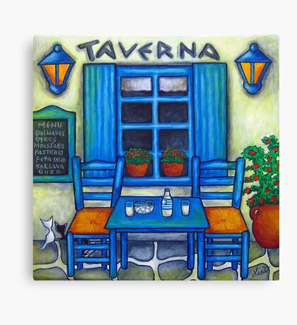 Table for Two in Greece Canvas Print