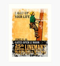 power lineman rodeo expo vintage poster Art Print