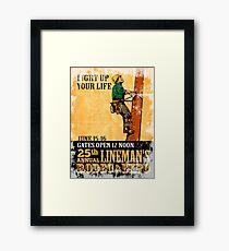 power lineman rodeo expo vintage poster Framed Print