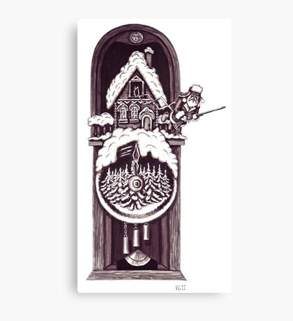 New Year clock surreal black and white pen ink drawing Canvas Print