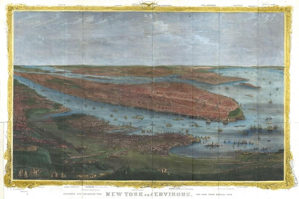 Vintage Pictorial Map of New York City (1868) by BravuraMedia