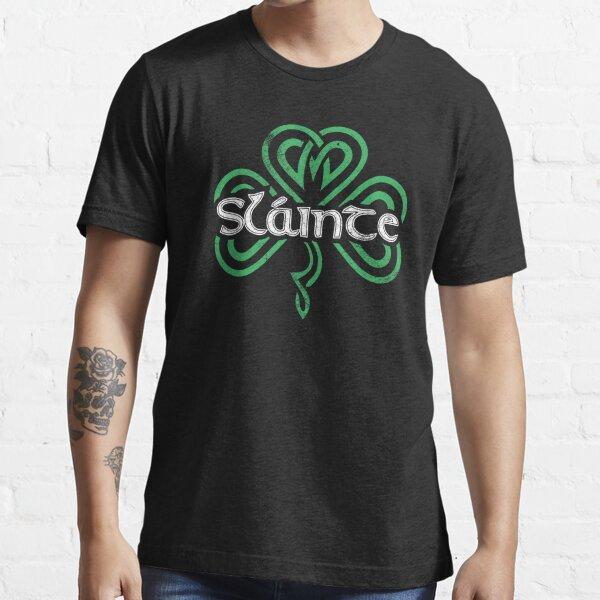 Slainte Gaelic Drinking Toast Cheers Good Health Funny St Patricks Day Saying Retro Shamrock Graphic Essential T-Shirt