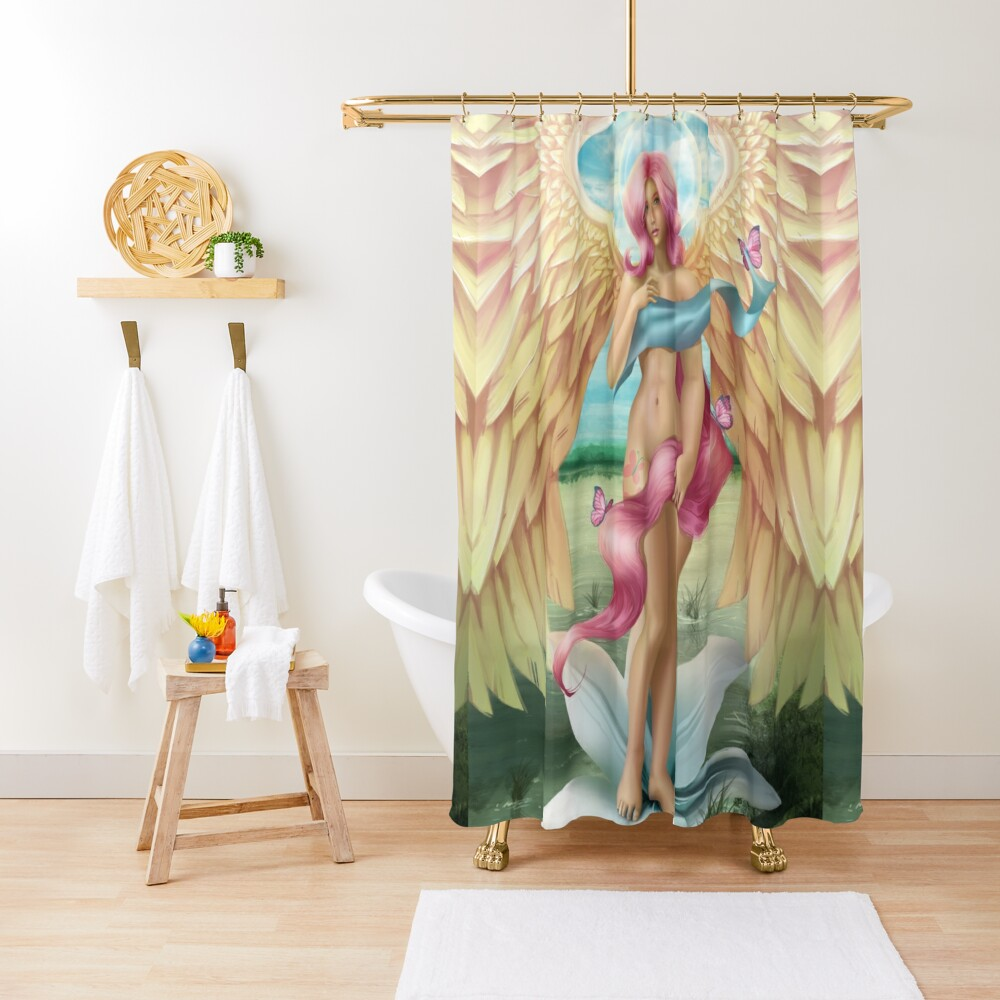 Birth of a Shy Angel Shower Curtain