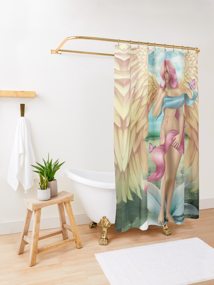 Alternate view of Birth of a Shy Angel Shower Curtain