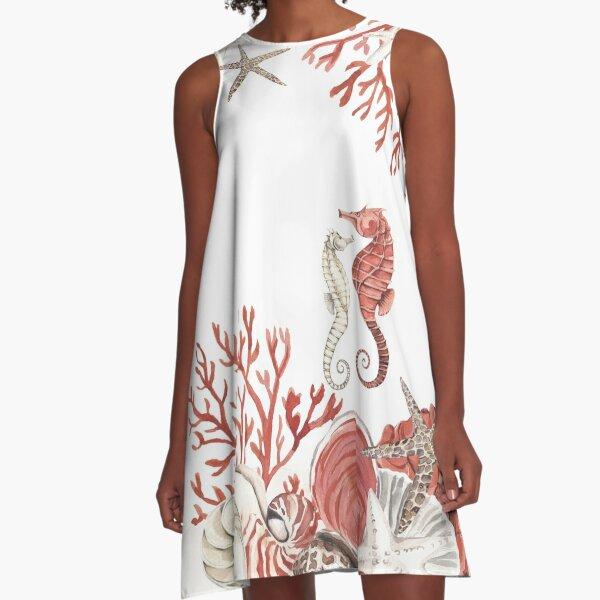 Coral sea A-Line Dress