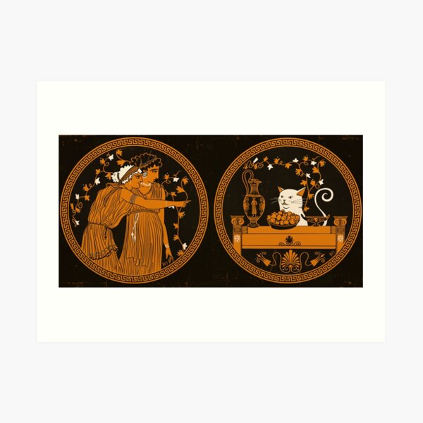 Ancient Greek Vase Cat Meme Art Print