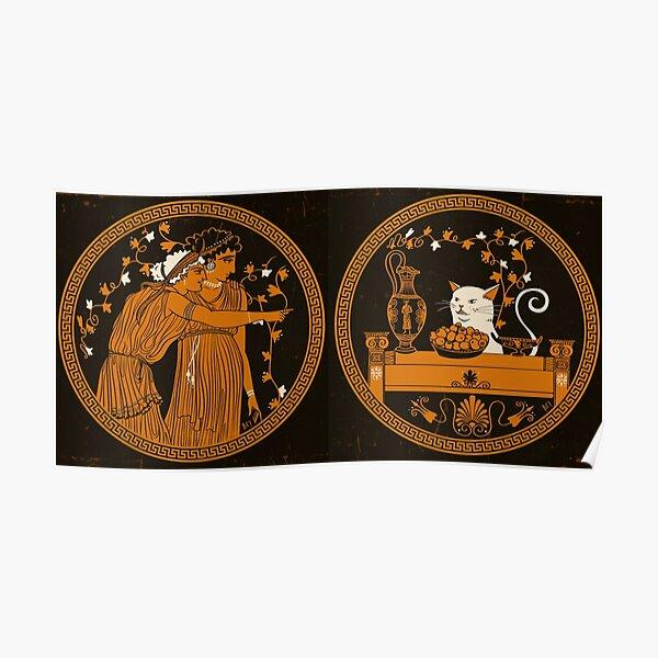 Ancient Greek Vase Cat Meme Poster