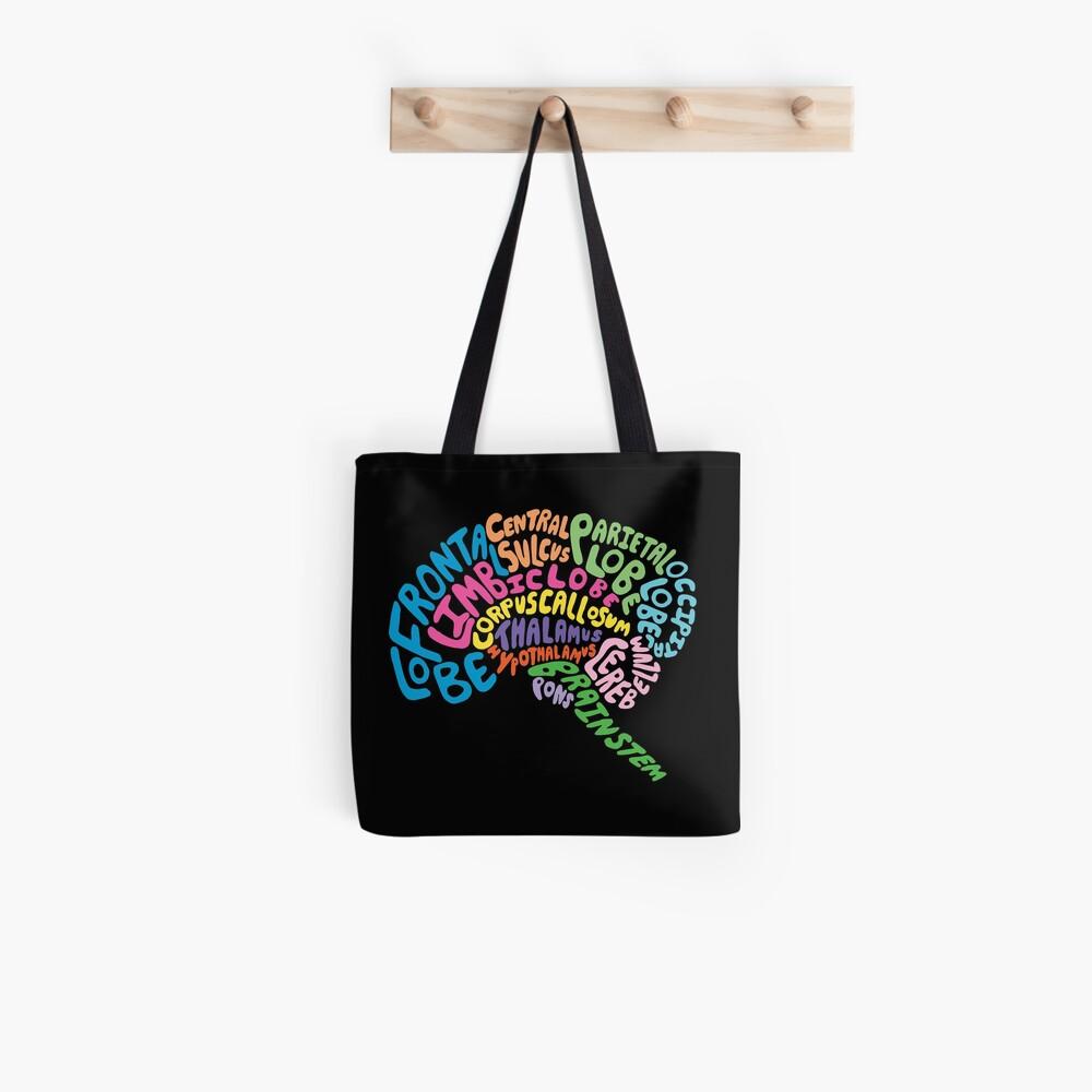 Human Brain Anatomy using Typography Tote Bag
