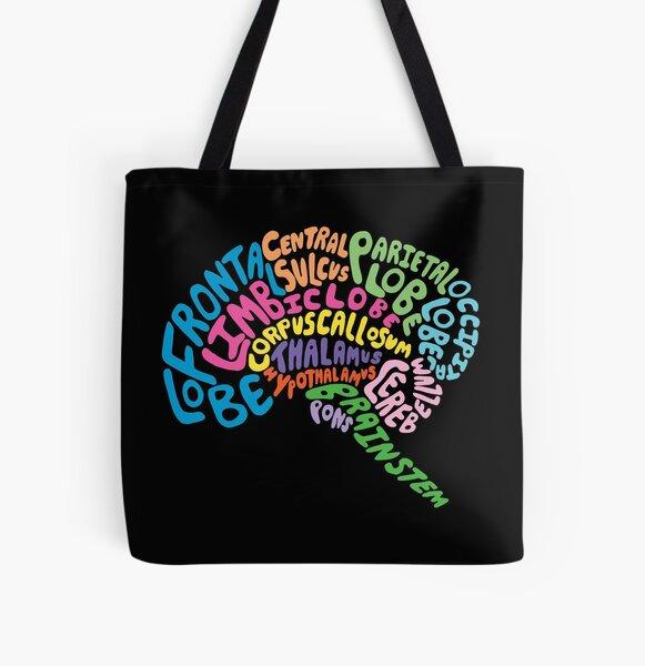 Human Brain Anatomy using Typography All Over Print Tote Bag