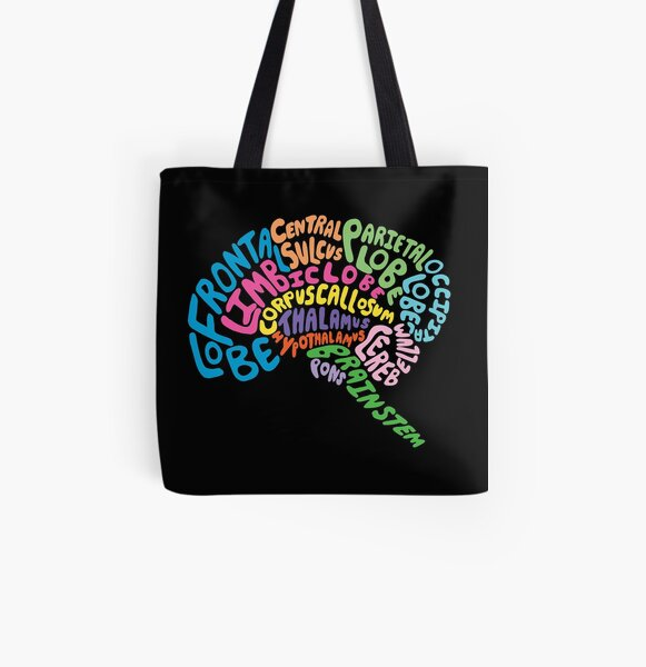 Human Brain Anatomy using Typography All Over Print Tote Bag
