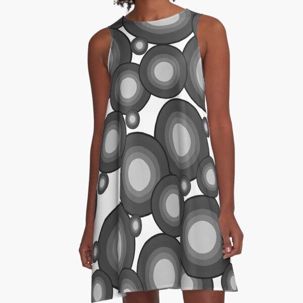 Gray 70's year circle  A-Line Dress