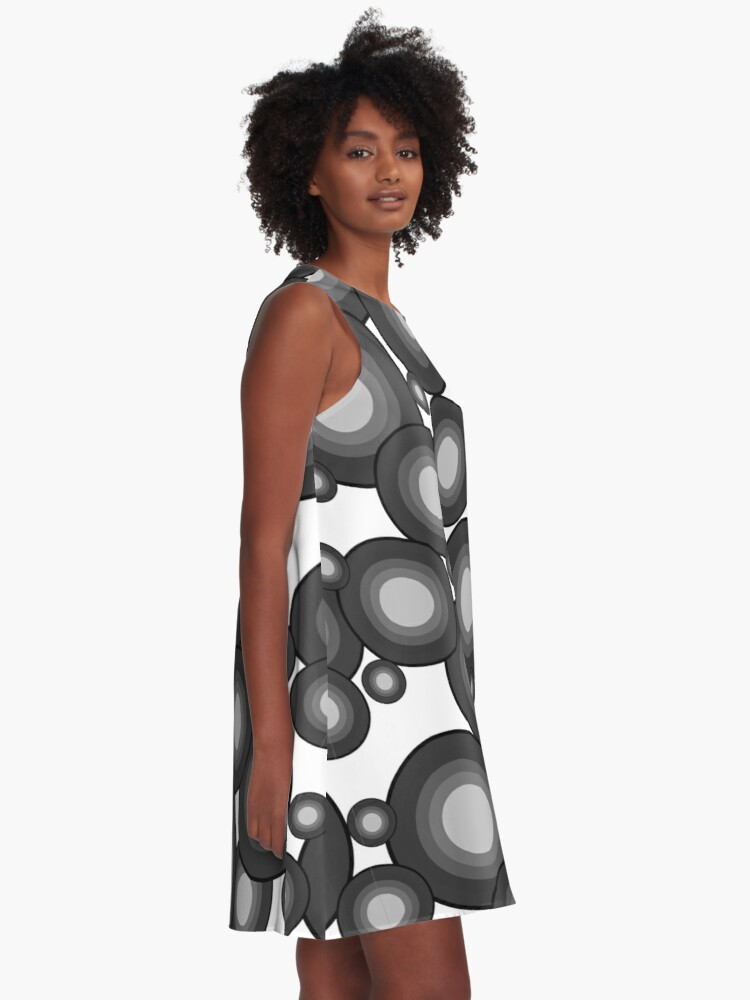 Alternate view of Gray 70's year circle  A-Line Dress