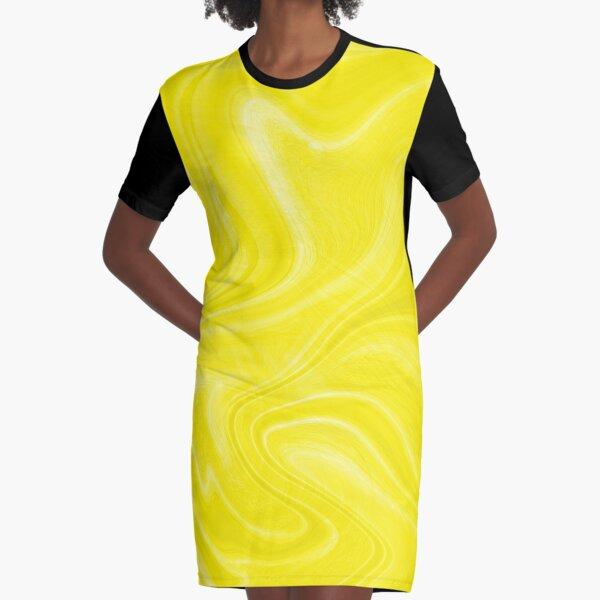 Yellow Swirl Marble Graphic T-Shirt Dress