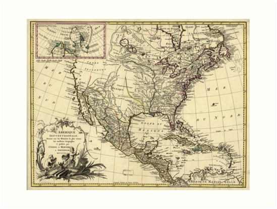 L'Amérique septentrionale Map of North America (1757) by allhistory