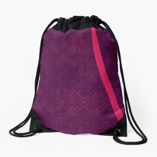 purple boxes Drawstring Bag