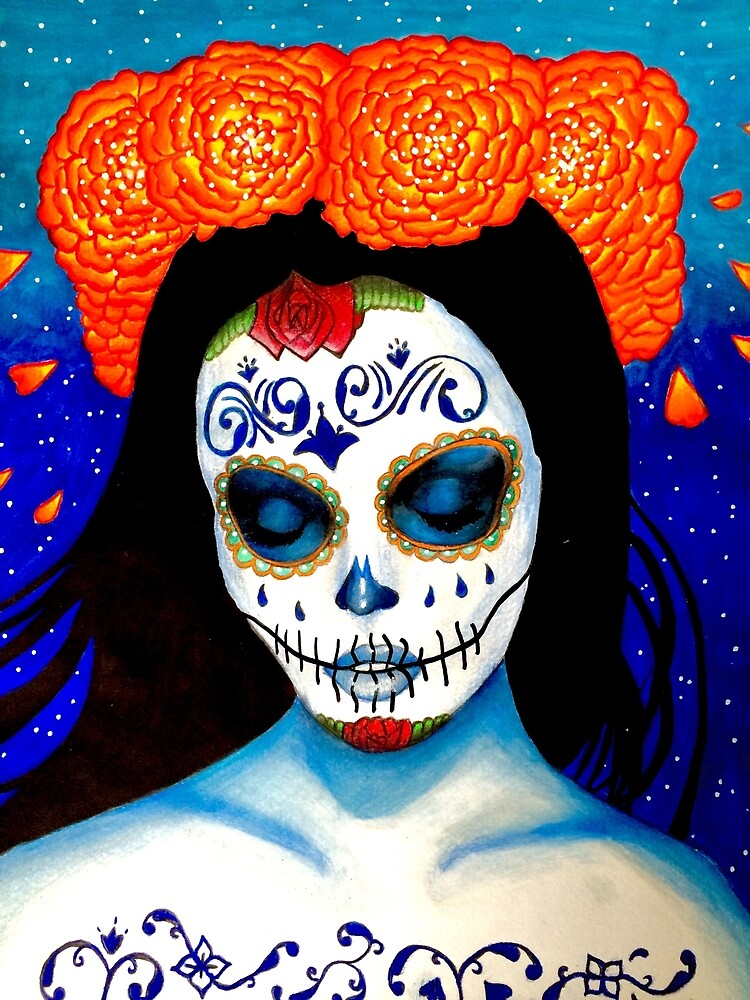 Mexican skull girl by drawingsbyale