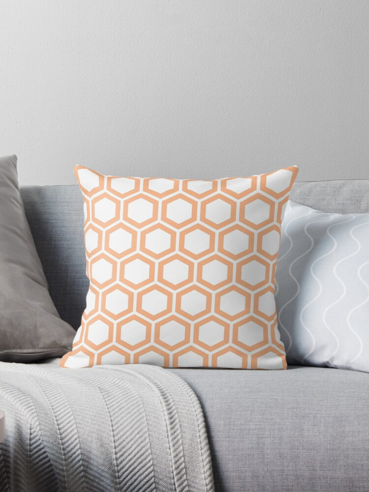 Peach honeycomb pattern on white background by ImageNugget