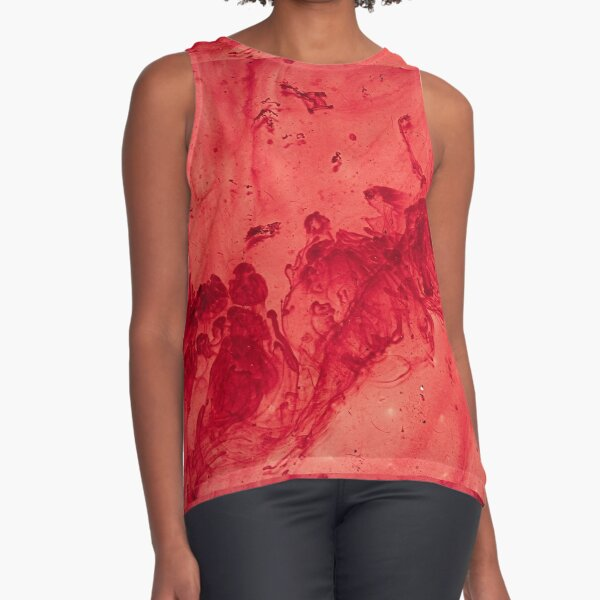 Red Paint Mixed Water Design Sleeveless Top