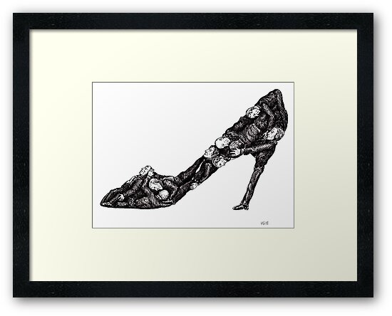 Shoe out of men surreal black and white pen ink drawing by Vitaliy Gonikman