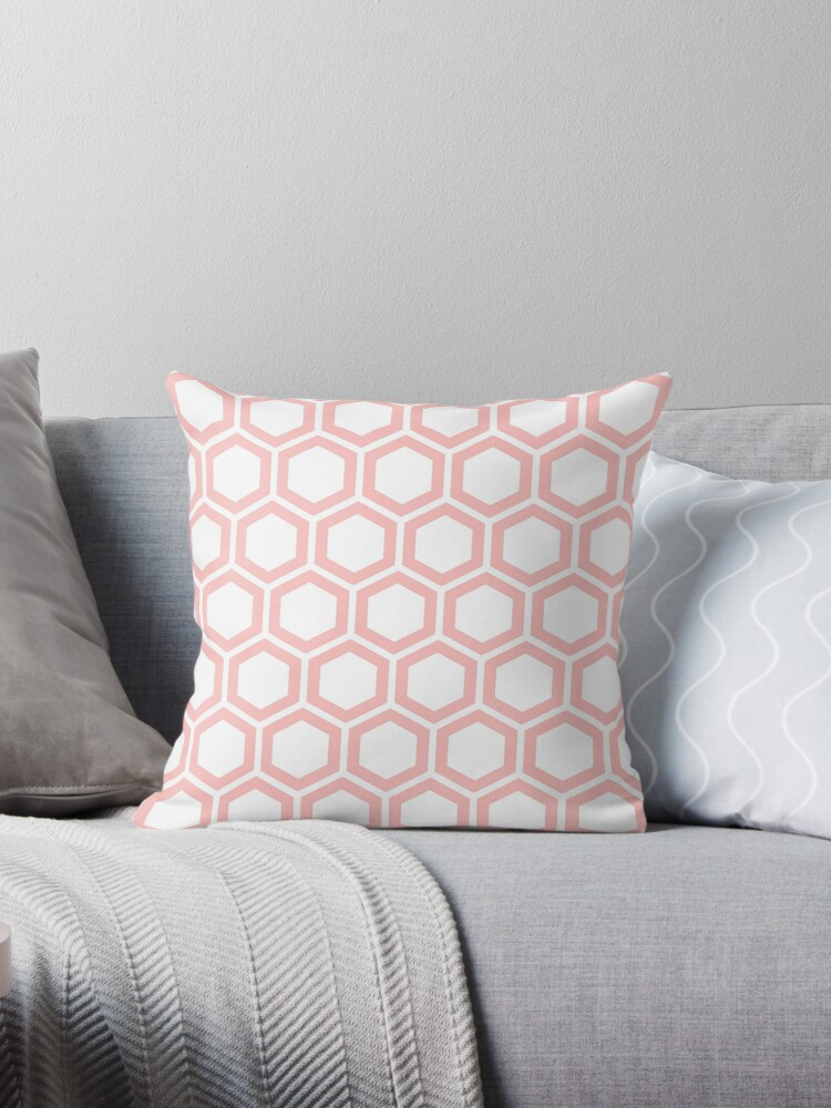 LightPink honeycomb pattern on white background by ImageNugget