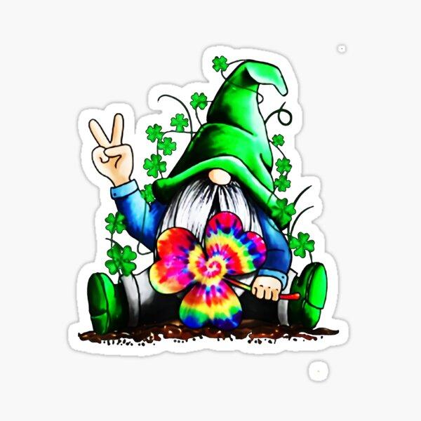 Gnome Hippie Shamrock Tie Dye Leprechaun Gnomies St Patricks T-Shirt Women Men Gifts T-Shirt Sticker