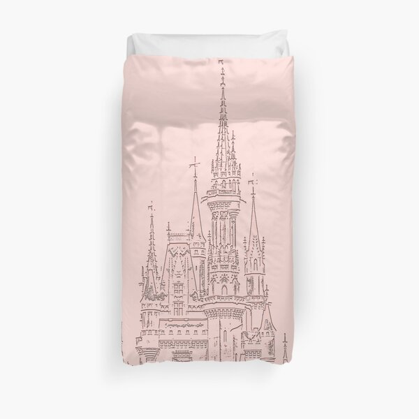 Rose Gold Magic Castle Carving Duvet Cover