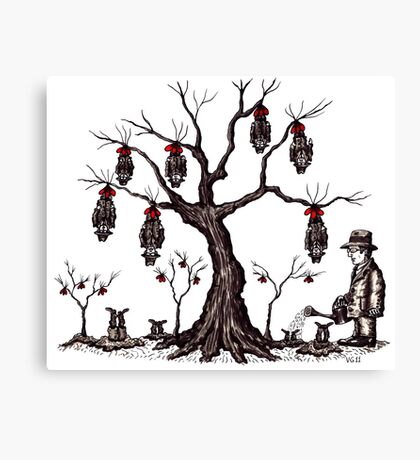 Strange tree surreal black and white pen ink drawing Canvas Print