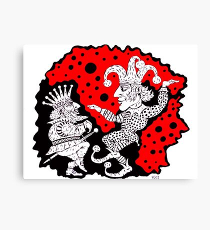 King and Joker surreal black and white and red pen ink drawing Canvas Print