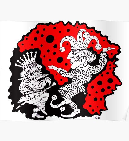 King and Joker surreal black and white and red pen ink drawing Poster