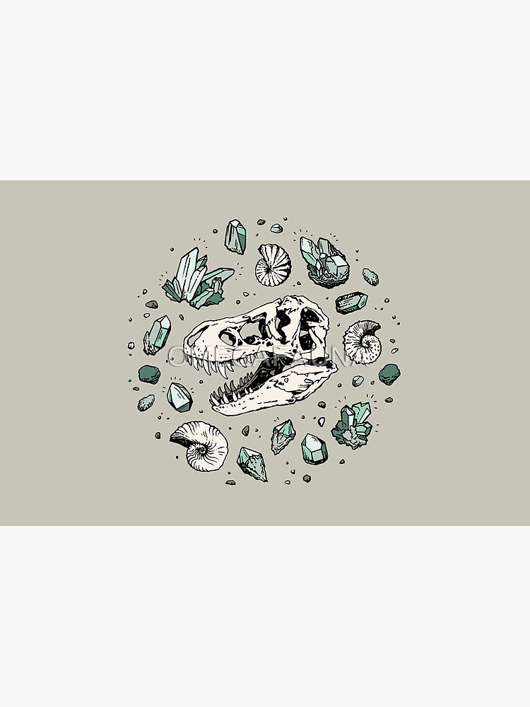 Geo-rex Vortex | Aquamarine | Dinosaur Skull Fossil Art by OMEGAFAUNA